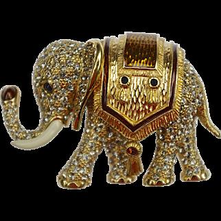 A Vintage Signed 'Ciner' Swarovski Crystal Elephant Brooch Pin