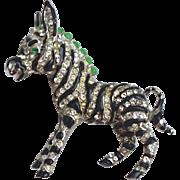 A Vintage Signed 'Ciner' Swarovski Crystal Zebra Brooch Pin