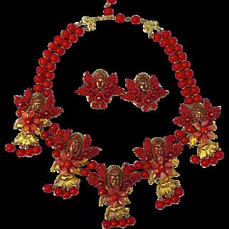 A Vintage Signed 'Stanley Hagler' Floral Eastern Princess Necklace and earring Demi Parure