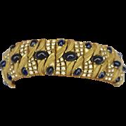Vintage Signed 'Ciner' Blue Cabochon & Rhinestone Braided Bracelet