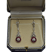 Vintage Art Deco 2.62ctw Diamond .90ctw Red Ruby Halo Platinum Drop Earrings