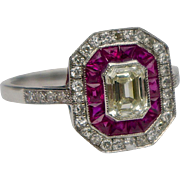 A Vintage Art Deco Diamond And Ruby Halo RIng