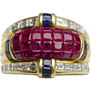 A signed 'Denoir' Heavy Ruby Diamond And 18KT Gold Band Ring