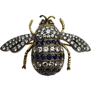 A Large Antique Victorian Diamond and Sapphire Bumble Bee Brooch Pin