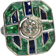 A Magnificent Vintage Art Deco Diamond Emerald and Sapphire Ring