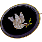 An Antique Victorian Oval Brooch With Inset Micro Mosaic Detail of a Dove With Olive Branch,