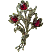 A vintage 1944 Alfred Spaney for Trifari Rhinestone Crystal Flower Brooch Pin
