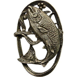 A Vintage signed 'Miracle' Pewter Brooch of a Leaping Salmon Fish