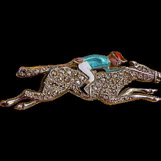 An Antique Diamond and Enamel Racing Horse and Jockey Pin Brooch