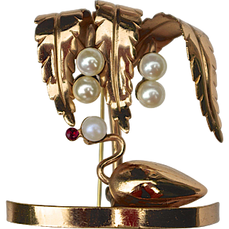 An Unusual Vintage Gold and Pearl Figural Swan on a Pond Brooch Pin