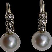 A Vintage set of South Sea Pearl and Diamond Hook Earrings