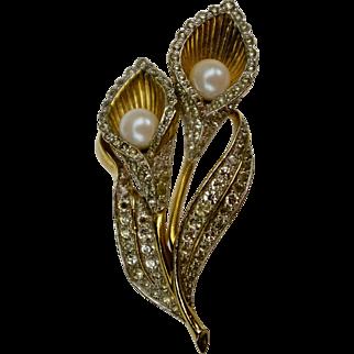 A Vintage Signed Jomaz Calla Lillies Spray Brooch Pin