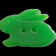 "Small Vintage Realistic ""Goofie"" Green Casein Rabbit Button"