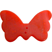 "Large Vintage Cherry Red Realistic ""Goofie"" Butterfly Bakelite Button"
