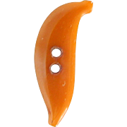 "Vintage Bakelite Realistic ""Goofie"" Orange Banana Button"
