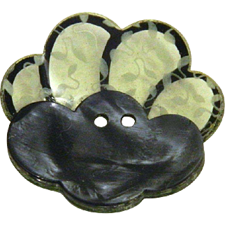 Vintage 1930's Black French Layered Scalloped Celluloid Button