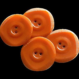 Set of Four Matching Vintage Butterscotch Bakelite Buttons