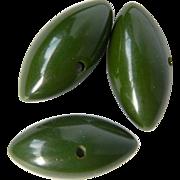 Three Vintage Green Bakelite Football Buttons