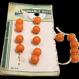 Vintage Card of 14 Tiny Butterscotch Bakelite Ball Buttons