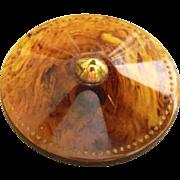 Large Vintage Imitation Tortoise Shell-Rootbeer-Pinshank Bakelite Button