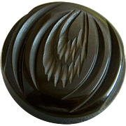 Large Vintage Brown Carved Bakelite Button