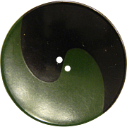 Large Vintage Dark Green and Black Ying Yang Bakelite Button