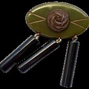 Very Large Three Color Vintage Bakelite Pin/Brooch