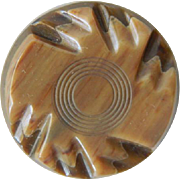Vintage Brown Two Layer Carved Imitation Horn Button