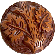 Vintage 1930's Button -Large Buffed Brown Celluloid with Tree Design