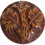 Vintage 1930's Button -Medium Buffed Brown Celluloid with Tree Design