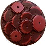 "Vintage 1930's Large Maroon ""Gears"" Celluloid Button"