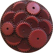 Vintage 1930's Maroon Celluloid Gears Button