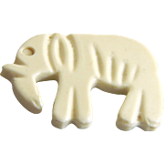 Vintage White Celluloid Realistic Elephant Button