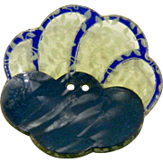 Vintage 1930's Blue French Layered Scalloped Celluloid Button