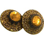 Vintage La Mode Yellow Glass in Metal Buttons