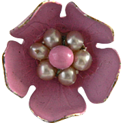 Vintage Painted Metal Dogwood Blossom Button