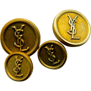Set of Four Yves Saint Laurent Blazer Buttons, Metal