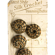 Vintage Multicolored Silk Crochet Trimming Buttons Original Card