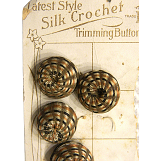 Vintage Multicolored Silk Crochet Trimming Buttons Original Card