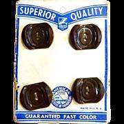 Vintage Original Card of Four Brown Bakelite Art Deco Buttons