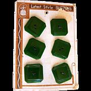 Vintage Original Card of Six Green Bakelite Art Deco Buttons
