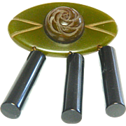Large Hand Crafted Carved Bakelite Pin or Brooch-Three color