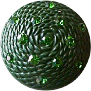 Large Vintage Green Domed Plastic Button with Green Pastes