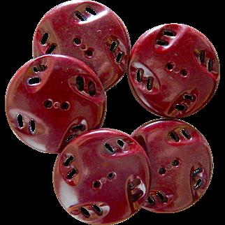 Large Vintage Pierced Brown Buttons
