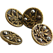 Antique Set of Four Small Picture Buttons with Cut Steels