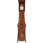antique early 1800's French grain painted grandfather clock + Morbier movement