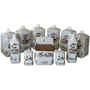 Antique Czech porcelain kitchen canister set with bird or Peacock design