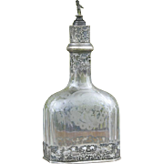Tall antique German silver and etched crystal decanter or scent bottle with Cherub stopper