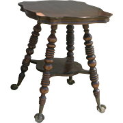 William and Mary style antique side table with turned legs and claw and ball feet
