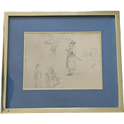 Vintage framed pochoir print by French printer Daniel Jacomet after Toulouse Lautrec
